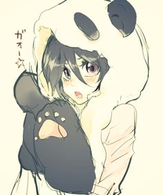 anime girl in panda suit!!! Adorable wish it was tiger suit
