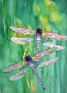 Watercolor in Painting - Etsy Art Dragonfly and Daffodils by Marily K Jonas