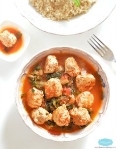 Chicken Meatballs, quick and easy cooked in Moroccan style tomato green stew. A gluten free meal that all the family love.