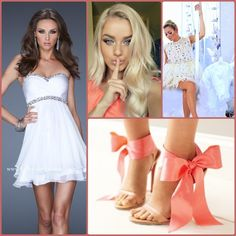 La Femme style 19436 white - white homecoming dress - white prom dress - short white dress - cocktail dress - bachelorette party dress - coral heels - bows - kate moss http://lafemmefashion.com/cocktail-dresses/La-Femme-19436