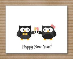 New Years Cards  Happy New Year  2015  Owl  - 2015 new year ideas, paper goods, personalized cards  #2015 #new #year #cards