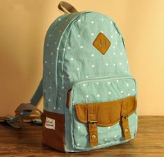 Mint Polka Dot Print Backpack