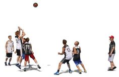 A team of men playing basketball