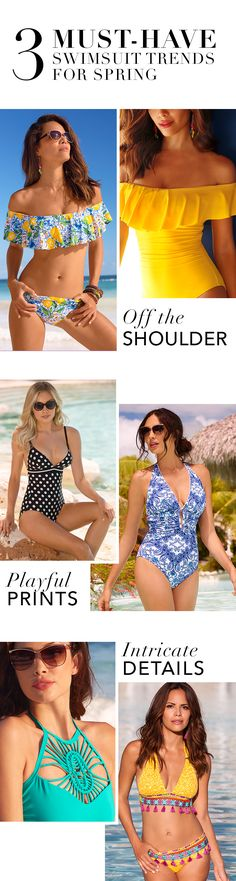 Sexy Swimwear   3 Must-Have Swimsuit Trending for Spring 2017: Off-the-Shoulder, Playful Prints, + Intricate Details.