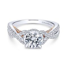 Gabriel - Gisela 14k White And Rose Gold Round Twisted Engagement Ring