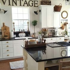 Holli from Beesnburlap recently made over her kitchen and added tons of vintage farmhouse charm! Find this and more, with links to everything at Fox Hollow Cottage http://bit.ly/FHFFsCottageFarmhouseFeatures