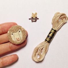 Needle Punch Sheep Head - #handembroidery #embroidery #5O1embroidery. TW