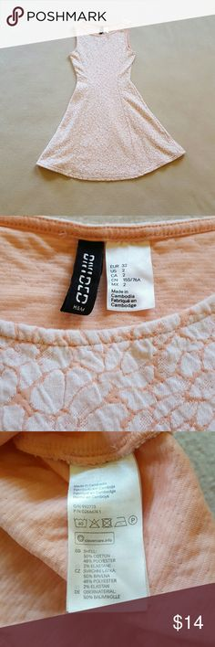 """H & M Divided orange and white dress. Orange & white dress, fitted waist and flows out on the bottom.  Excellent condition.  28"""" long. H & M Divided  Dresses Mini"""