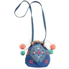 Sac besace brodé  Sunset bag bleu