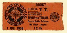 Toegangsbewijs TT-circuit Assen uit 1939. Uit archief Martin Hiemink