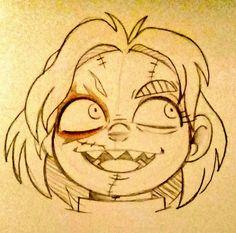 Chucky Horror Movie, Horror Movies Funny, Horror Movie Characters, Scary Drawings, Cartoon Drawings, Drawing Base, Figure Drawing, Chucky Drawing, Cartoon Body