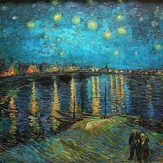 Vincent van Gogh - Starry Night Over the Rhone, This is stunning. - Vincent van Gogh is one of my favorite artist's as far as his works go - they are gorgeous! Vincent Van Gogh, Van Gogh Art, Art Van, Post Impressionism, Impressionist Art, Claude Monet, Van Gogh Pinturas, Van Gogh Paintings, Art Plastique