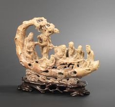 A soapstone carving of the Eight Immortals on a raft Late Qing Dynasty Soapstone Carving, Qing Dynasty, Rafting, Lion Sculpture, Fine Art, Statue, Ropes, Jade, Ivory