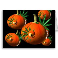 Pumpkins chew on cannabis leaves greeting cards