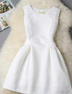 White Mini Ärmelloses Plissee Minikleid A-Line Kurzarm Elegantes … - Damen Kleider Grad Dresses, Casual Dresses, Short Dresses, Fashion Dresses, Formal Dresses, Pretty Dresses, Beautiful Dresses, Dress Skirt, Dress Up