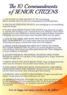 10 commandments senior citizens - Google Search