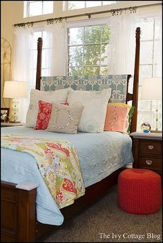 Vibrant, Coastal Bedroom    Love this idea for in front of windows. Gives more light control and privacy. Just a coverlet on the headboard.
