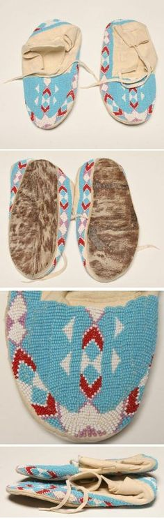Shoshone Beadwork | Native American Shoshone Beaded Moccasins | Antique Helper by manuela