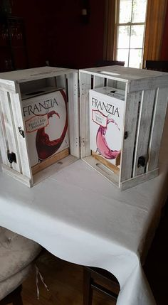 Box Wine Cover -- so your Cardboarduex is a bit more classy at Pennsic!   2 crates, a latch, and two hinges (all from Michaels).  Add an internal spacer board to raise up the wine boxes, cut out holes for the spouts, add two boxes of wine.  Pretty snazzy!    Husband made this for me on Sat. 6/25/16 Credit NITELEIT!!!!.  :)
