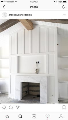 Brooke Wagner Design ( Thick exposed ceiling beams that contrast fresh white millwork. Brooke Wagner Design ( Thick exposed ceiling beams that contrast fresh white millwork. Fireplace Built Ins, Farmhouse Fireplace, Fireplace Remodel, Fireplace Wall, Fireplace Surrounds, Fireplace Design, Fireplace Ideas, White Fireplace Surround, Fireplace Moulding