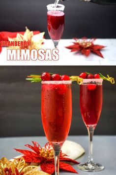 Easy Cranberry Mimosa is the perfect cranberry cocktail. This mimosa with cranberry juice and sparkling wine will make the best holiday cocktail! Serve this drink by the pitcher or glass! Cranberry Cocktail, Drinks With Cranberry Juice, Cranberry Wine, Christmas Drinks, Holiday Cocktails, Christmas Christmas, Halloween Drinks, Drinks Alcohol Recipes, Cocktail Recipes