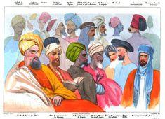 """De la #couleur pour ce #dessin qui présente les différentes formes de #turbans en Orient et qui illustre une étape du """"Voyage d'Horace Vernet en Orient"""". Ce #peintre français part à la découverte de l'Est en 1839, accompagné de deux acolytes, équipés de matériel photographique – daguerréotype. Un #livre illustré de 16 #lithographies immortalise leur périple #numelyo #color #voyage"""