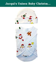 Jacqui's Unisex Baby Christmas Holiday Wrap and Hat, Preemie. So soft and perfect for babies first Christmas! Opens flat, wraps around baby. Gentle against babies skin. Soft 100% cotton knit sleeveless wrap two velcro closures. Features overlapping front panels for easy monitor access, no interior seams, labeled for easy removal, adjustable for snug or loose fit and longer in back for better coverage. White wrap with Santa, candy canes, snowmen, gingerbread etc ., print. Adorable snowman...