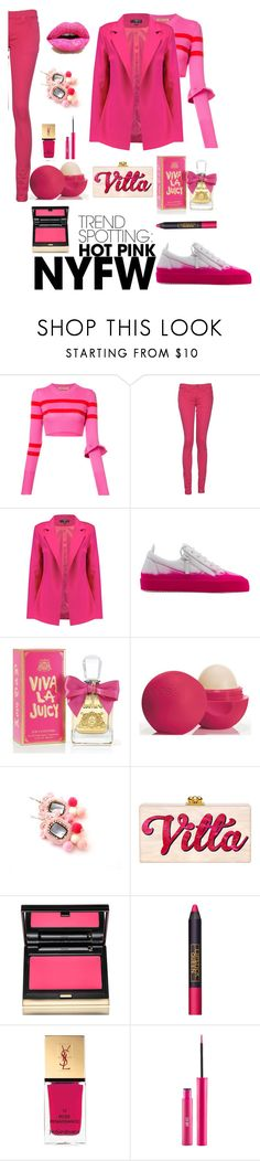 """look hot pink"" by mouna-marini on Polyvore featuring mode, Maggie Marilyn, Monkee Genes, Giuseppe Zanotti, Juicy Couture, Eos, Kevyn Aucoin, Lipstick Queen, Yves Saint Laurent et Sigma"
