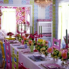 Setting the table with colorful whimsy by The Decorista David Stark, Come Dine With Me, The Design Files, Easter Table, Home Interior, Interior Ideas, Event Decor, Event Design, Party Time