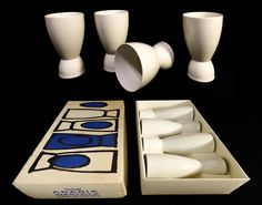 ARABIA WARTSILA FINLAND Porcelain Egg Cups Set of 4 with original box (sold)