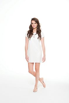 Perforated leather-like t dress in white