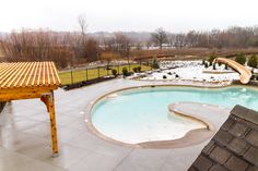 Our new waterslide and lagoon style pool! Can't wait for summer! WatersEdge Overland Park KS