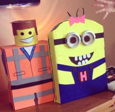 Emmet the Lego and Minion Valentine boxes