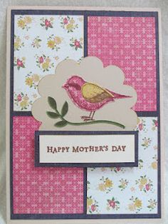 Handmade Happy Mother's Day Card using Stampin' Up! Bird Builder Punch.