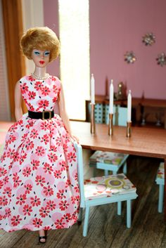 Vintage Barbie - love her dress.  She's just about to set the table for a candlelight dinner