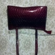 """faux leather bag Gorgeous! Two toned wine. Lower half solid leather upper faux gator. 4 separate compartments. Bag has never been used. 13"""" long and 5 deep. Found packed away. Needs to be shown off. No name for brand. Bags"""