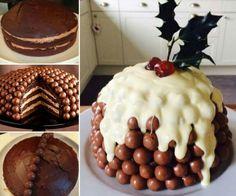 Chocolate malteaser christmas cake