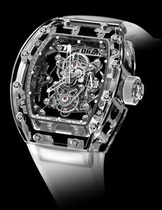 """Close to the top-end of the luxury watch market are these three highly limited production Richard Mille watches with cases produced from sapphire crystal. Each costs over a million dollars, with the new for 2014 RM 56-02 watch priced at over two million dollars. Rare and extremely exclusive, these are a uniquely """"transparent"""" take on ultra-luxury. Synthetic sapphire is a major part of modern watch manufacturing. Typically used for just the crystals over watch dials (and casebacks), ..."""
