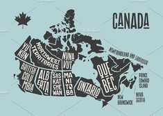 Poster map of provinces and territories of Canada. Black and white print map of Canada for t-shirt, poster or geographic themes. Canada Logo, Map Painting, Ribbon Banner, Newfoundland And Labrador, Map Design, Graphic Design, Canada Travel, Graphic Illustration, Creative Illustration