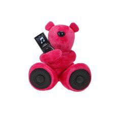 Bluestork ours en peluche avec haut parleurs fushia  iPhone iPod Blackberry