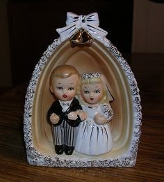 Wedding Cake Topper by the National Pottery Co. in Japan, 1959 Vintage Cake Toppers, Wedding Costs, Take The Cake, Vintage Theme, Vintage Weddings, Cake Toppings, Here Comes The Bride, Wedding Cake Toppers, Bride Groom