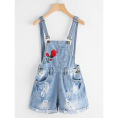 Rose Embroidered Destroyed Denim Dungaree Shorts -SheIn(Sheinside) ❤ liked on Polyvore featuring shorts, torn shorts, denim dungaree, ripped shorts, destroyed shorts and denim dungaree shorts