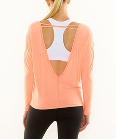 4b88c852ff38 Loving this Papaya Heather Open-Back Core Up Tee on  zulily!  zulilyfinds