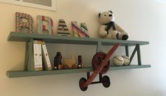 Items similar to Handmade airplane wall shelf from The Aviator. Beautiful spruce wood with polished copper or aluminum. In natural, white, grey or bluewash. on Etsy