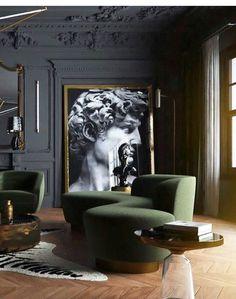 25 Popular Classic Living Room Design 2019 - Home Design Hotel Interiors, Dark Interiors, Salon Art Deco, Living Room Designs, Living Room Decor, Dining Room, Living Spaces, Art Spaces, Small Living