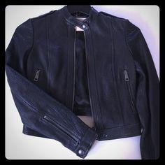 Burberry Brit Leather Jacket Beautiful black 100% lamb leather jacket from Burberry Brit. European sized, runs small. Burberry Jackets & Coats
