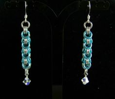 Shaggy Loops style chainmaille earrings Ice by WhimsycatsTreasures, $8.00