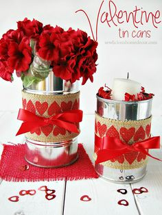 Valentine Tin Cans with Burlap #TriplePFeature