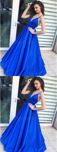 A-Line Spaghetti Straps Royal Blue Satin Prom Dress with Pleats M2211