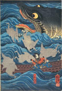 Woodblock print by Utagawa Kuniyoshi Japan 歌川 国芳 light blue top, dark blue bottom, yellow gold on window trim Japanese Painting, Japanese Prints, Art And Illustration, Folklore Japonais, Art Japonais, Era Edo, Japanese Woodcut, Art Asiatique, Prints